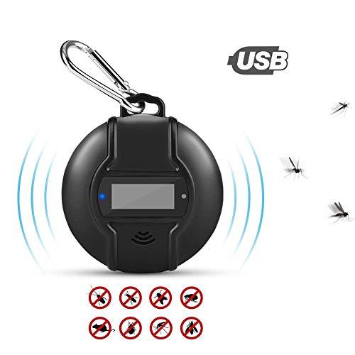 Deruxan - Dispositivo antimosquitos por ultrasonido con Carga Micro USB, Uso Principal para Mosquitos, Seguro para Personas y Mascotas