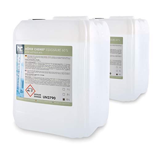 2x 10L acide acétique 60%–livré dans un bidon pratique de 10L