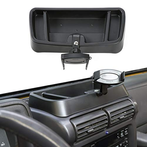 Hoolcar Interior Phone Holder Radio Holder Multi-Functional Walkie Talkie Cell Phone Mount Bracket for 1997-2006 Jeep Wrangler TJ, Black