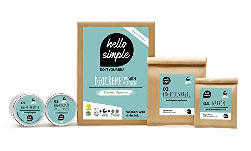 hello simple - DIY Deocreme/Deodorant zum Selbermachen (150 g, 2 Stück), Naturkosmetik ohne Aluminium, vegan, bio, plastikfrei (Limette-Zypresse)
