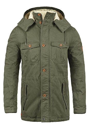 Blend Kenneth Herren Winterparka Parka Winterjacke Mit Stehkragen Und Abnehmbare Kapuze Mit Teddy-Futter, Größe:M, Farbe:Ivy Green (77086)