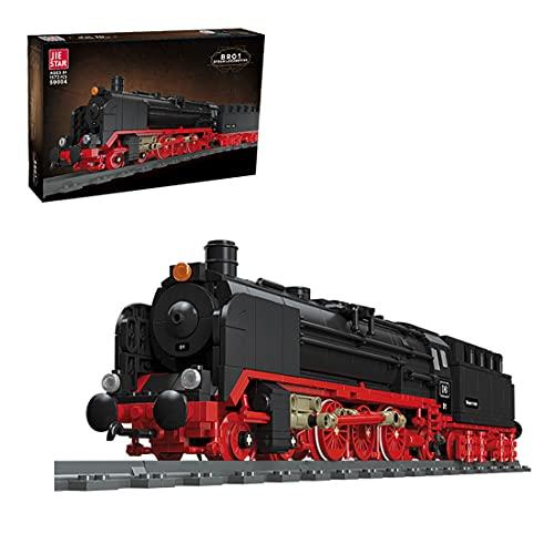 BGOOD Technic, treno a vapore con binari, 1173 mattoncini da costruzione City con treno a vapore e treno merci, modellino da costruzione, compatibile con Lego Technic