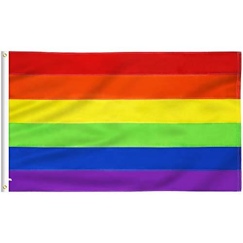 Lixure Regenbogen Flagge/Fahne LGBT Flagge 150 X 90cm(5ftx3ft) Homosexuell Stolz Lesben Flagge Lebhafte Farbe und UV Verblassen Beständig mit Messing-Ösen Nylon wasserdichte Fahne MEHRWEG