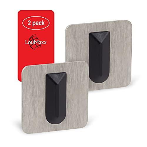 LouMaxx Türstopper Wand selbstklebend 2er Set | Türstopper Wandmontage 32 x 32 mm Rechteck | edle Wandtürstopper aus gebürstetem Edelstahl