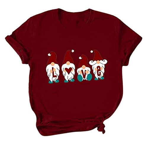 Lilygodx Camisetas Mujer Originales Baratas Navidad Harry Style de Vestir Tallas Grandes Manga Corta Cuello Redondo Deporte Heavy Metal Camisetas Parejas Personalizadas AA001 (Rojo, M)
