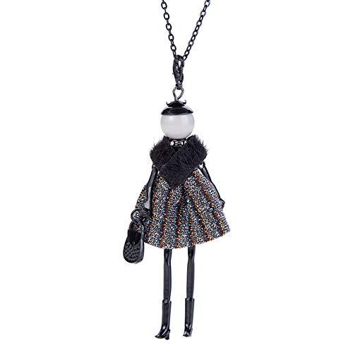 Nowbetter Cadena de suéter con forma de muñeca linda colgante de collar de perlas suéter collares largos para mujeres y niñas - Estilo A