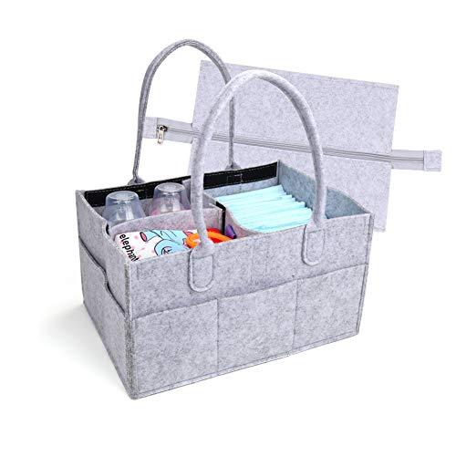OBloved Baby Diaper Caddy Organizer, Baby Shower Gift Basket for Boys Girls, Washable Diaper Tote Bag, Felt Infant Nursery Storage Bin, Portable Travel Car Organizer for Changing Table (Light Grey)