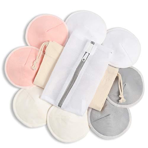 Momcozy 8 Pcs Discos de Lactancia Lavables de Bambú, Discos Absorbentes Lactancia Almohadillas para Lactancia, Cubiertas de Pezón para Maternidad, con Bolsa para Lavandería y Bolsa de Viaje