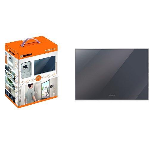BTicino 317013 Kit Videocitofono con 2 Fili, Finitura Specchio, Mono/Bifamigliare + 332353 Display Aggiuntivo 7 Pollici per Kit Videocitofonici 2 Fili, a Specchio