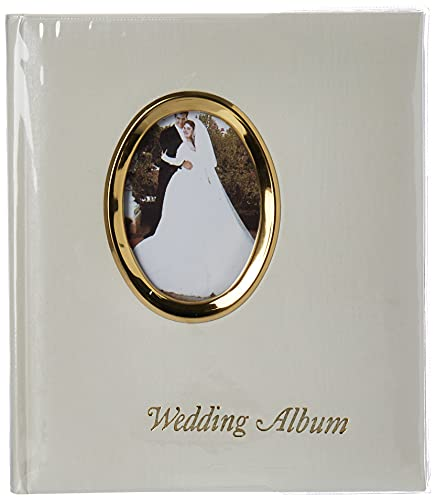Pioneer Photo Albums 200 Pocket Ivory Moire Cover Album with Gold Tone Oval Frame and Wedding Album Text for 4 x 6-Inch Prints