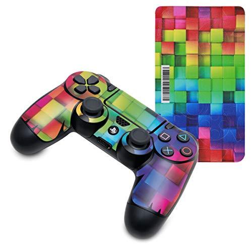 kwmobile Adhesivo compatible con Playstation Controlador de PS 4 / 4 Pro (1./2. Gen) - Set de pegatinas para mando de consola con diseño - cubos colores multicolor / verde / azul