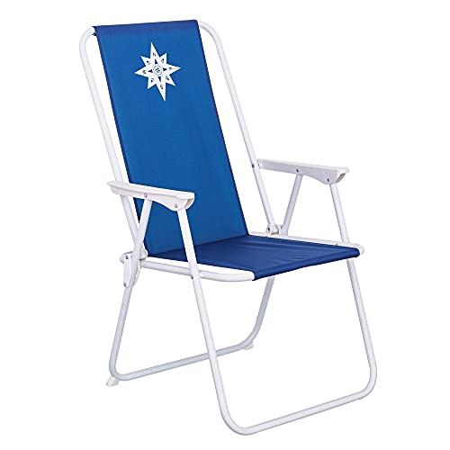LOLAhome Sillón de Playa Fijo Azul Marino de Lona de 88x46x53 cm