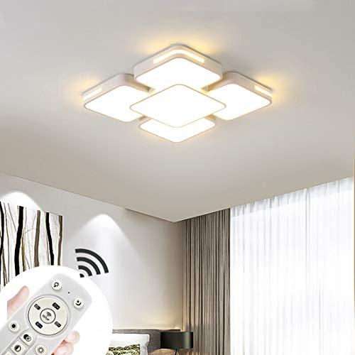 64W Lámpara de techo led Moderno Regulable 3000-6500K de sala de estar luz de cocina lámpara de techo de lámpara de techo habitación ahorro de energía (Blanco-64W Regulable)