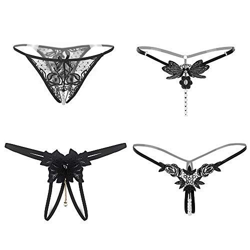 Hotwoman Women's Sexy Underwear lace Underpants Black 4-Piece Set