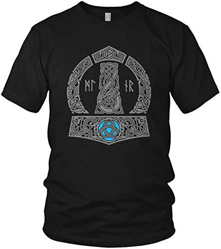 The Thor Mjölnir Wikinger Hammer Runen Wikinger Valhalla Walhalla Vikings - Herren T-Shirt und Männer Tshirt, Größe:3XL, Farbe:Schwarz Original Grau