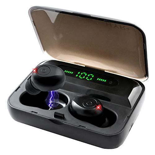 HYR+【ワイヤレスイヤホン 版】LEDディスプレイ 電量表示 Bluetooth 5.0 IPX5 防水 自動ペアリング 両耳片耳 Siri対応 通話 音量調節可能 日本語マニュアル