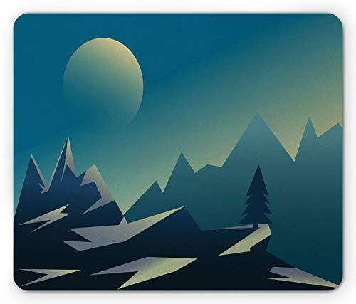 Berg-Mausunterlage, geometrische Landschaftsillustration, rutschfestes Gummimousepad mit Rechteck in Standardgröße, blaßbenzinblau, blaßgelbgrün, dunkelblau und purpurblau,Gummimatte 11,8