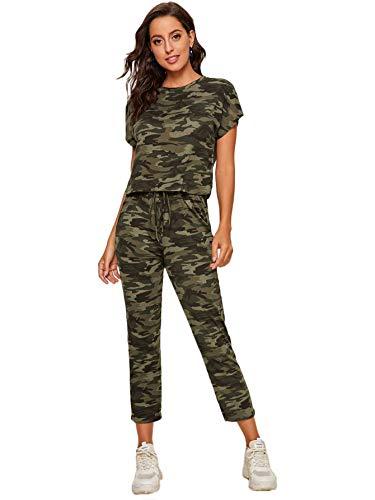 Floerns Women's Camo Short Sleeve Crop Top and Drawstring Pants 2 Piece Set Multi XL