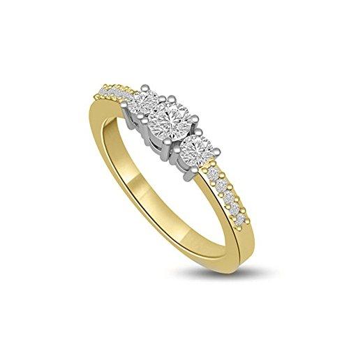 0.70ct G/VS1 Diamante Trilogy Anello da Donna con Rotonda Brillante diamanti in 18kt Oro Bianco e Giallo