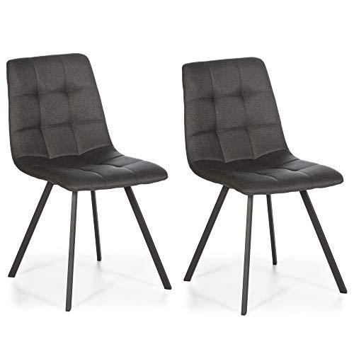 VS Venta-stock Set de 2 chaises Salle à Manger Mila Tapissées Grises Foncées, certifiées par la SGS, 58 cm (Largeur) x 45 cm (Profondeur) x 90 cm (Hauteur)