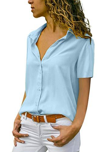 ASKSA Damen Bluse Chiffon Elegant Langarm Oberteile Einfarbig V-Ausschnitt Lose Hemdbluse T-Shirt Tops (Z-Hellblau, XXL)
