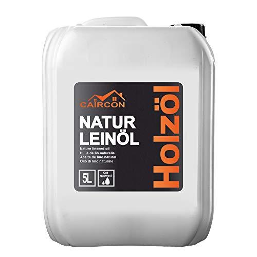 Natur Leinöl für Holz | kaltgepresstes Holzöl | Holzpflegeöl Holzmöbel Öl für Innen und Aussen | farblos 5L