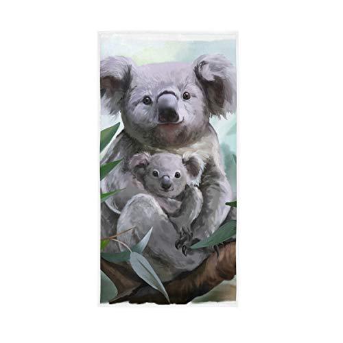 Rulyy Badetuch Aquarell Koala Baum Blatt Handtuch reine Baumwolle saugfähig weich Bad Dekor Gesicht Handtuch Mehrzweck-Waschlappen für Küche Fitnessstudio Badezimmer 76,2 x 38,1 cm