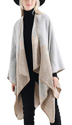 FEOYA Poncho para Mujeres Invierno Bufanda Chal Vintage Geométrico Delicado Lana Artificial Cálido para Jersey 147 * 135cm