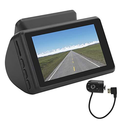 Fournyaa Coche 3in IPS Pantalla DVR, ABS Material Coche Doble Lente DVR, Cámara de conducción Grabador de vídeo Digital HD Visión Nocturna para el hogar del Coche