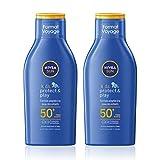 NIVEA SUN Lait solaire KIDS Protect & Play FPS 50+ (2 x 100 ml), crème solaire hydratante pour peau sensible des enfants, protection solaire UVA/UVB résistante à l'eau