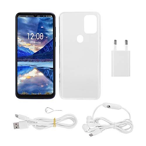 Desbloqueo facial inteligente de huellas dactilares para teléfonos móviles de 6.7 pulgadas, pantalla de caída de metal azul Tarjetas duales Teléfono móvil inteligente de espera 6 + 64G 1(EU)
