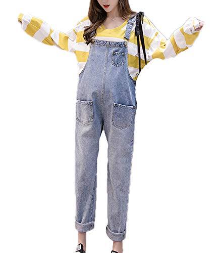 oneforus Jeans con Cinturino Premaman Salopette di Jeans Salopette Salopette Salopette con Tasche