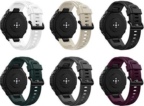 Simpleas Correa de Reloj Recambios Correa Relojes Caucho Compatible con Amazfit T-Rex - Silicona Correa Reloj con Hebilla (6PCS B)