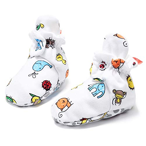 HONGLIN Unisex Baby Newborn Cozie Cotton Booties Infant Button Shoes Socks with Non-Slip Mat(Insect,9-12 Months) Blue