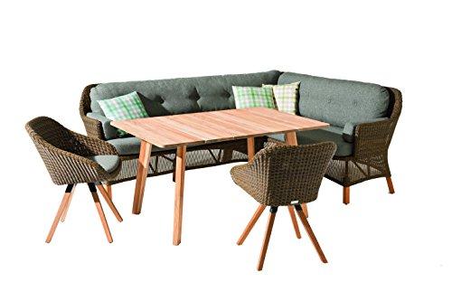 Niehoff Garden Nizza Dining Lounge, links, Viro Red Pine, Teak Massiv, Sunproof Basalt, 186 x 163 x 90 cm