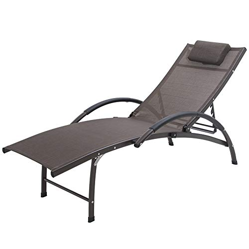 Crestlive Products Outdoor Reclining Chaise Lounge Chair, Aluminum Adjustable Portable Sun Tanning Lounge Chair, All Weather Furniture in Brown Finish for Lawn, Beach, Patio, Deck, Poolside (Brown)