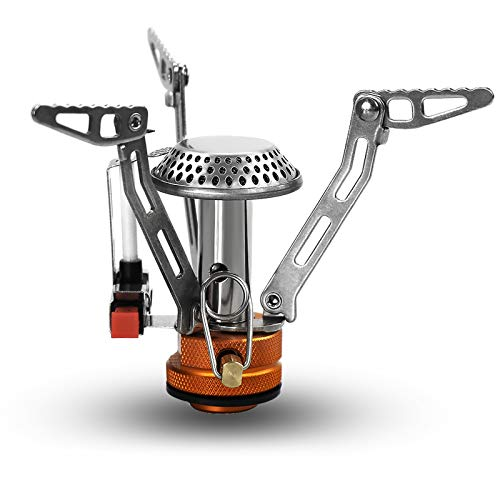 PSKOOK Portable Camping Stove Ultralight Backpacking Stove with Piezo Ignition, Windproof Camp Stove for Outdoor Hiking Cooking