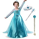 Snow Queen Girls Party Dress Costume with Accessories Princess Dress up Wig Crown and Wand,for Kids 3-8years (110cm/3-4Y, blue)