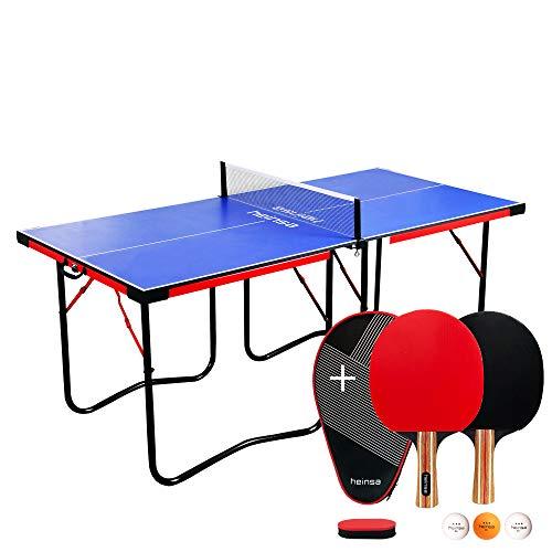heinsa KOMPLETT Set Mini Tischtennisplatte Indoor mit Tischtennis Set und Tischtennisbällen - Tischtennistisch klappbar (Mini Tischtennisplatte mit Tischtennischläger Set)