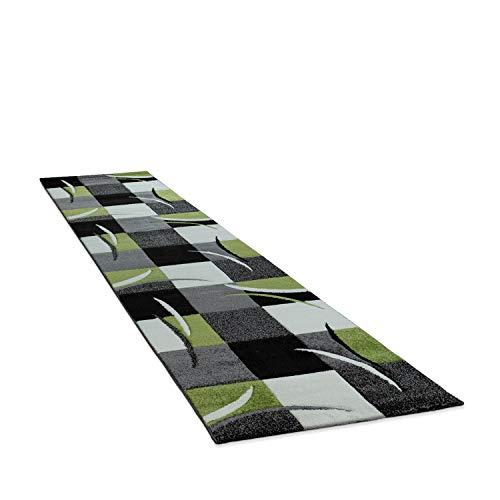 Amazon Brand - Umi Alfombra Salon Comedor Pasillo Dormitorio Pelo Corto 3D Cuadradas Diseño De Geometrica Triangulos Rombos Abstracto, Color:Verde, Tamaño:60x110 cm