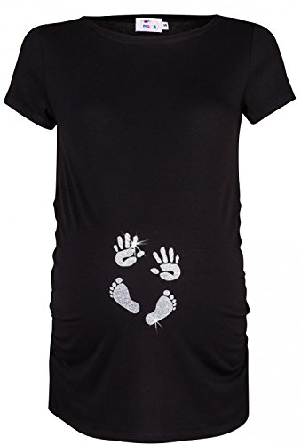 Happy Mama. Para Mujer Camiseta premamá T-Shirt estampado pies manos bebé. 013p (Negro & Plata, 36-38, S)