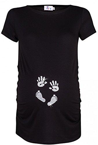 Happy Mama. Damen Baby Hände Fußabdruck T-Shirt Top Oberteil Schwangere. 013p (Schwarz & Silber, EU 40/42, L)
