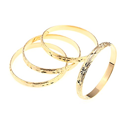 BR Gold Jewelry Pulsera de estrella grabada chapada en oro de 24 quilates para fiesta brazalete africano