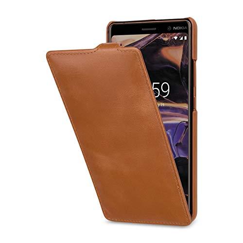StilGut UltraSlim Lederhülle kompatibel mit Nokia 7 Plus. Dünnes Flip-Hülle vertikal klappbar aus Echtleder, Cognac