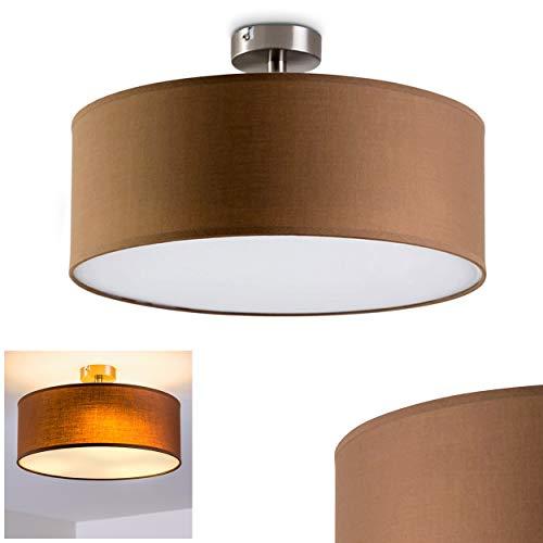Deckenleuchte Foggia mit Lampenschirm aus Stoff, Deckenlampe mit Stoffschirm in Braun Ø 40 cm, Zimmerlampe für Wohnzimmer, Flur, Dielen, Schlafzimmer, Küche - LED-fähig, 3x E27-Fassungen mit 40 Watt