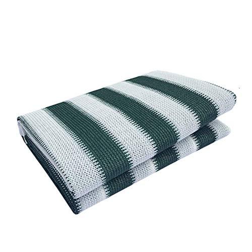 XISENOCI Tejido Protector Solar Red de Sombra Refugios solares Rayas Verdes/Blancas 80-85% Tasa de sombreado Encriptación de Engrosamiento Terraza y Jardines de la habitación del Sol, Tamaño 2 Pued