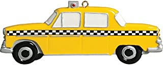Personalized Taxi Christmas Tree Ornament 2019 - Yellow Car Checkers Driver Ride Taxicab Vehicle Meter New York City Street Holiday Travel Tourist Gifts Souvenirs NY Year - Free Customization