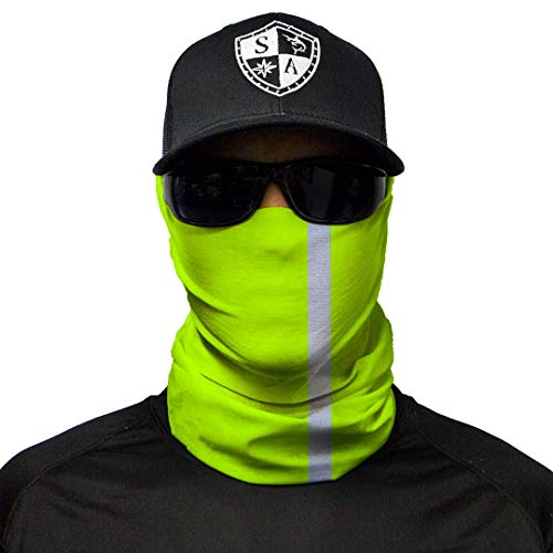 S A CO Official REFLECTIVE ELECTRIC GREEN Face Shield, Perfect for All Outdoor Activities, Protects Face Against the Elements