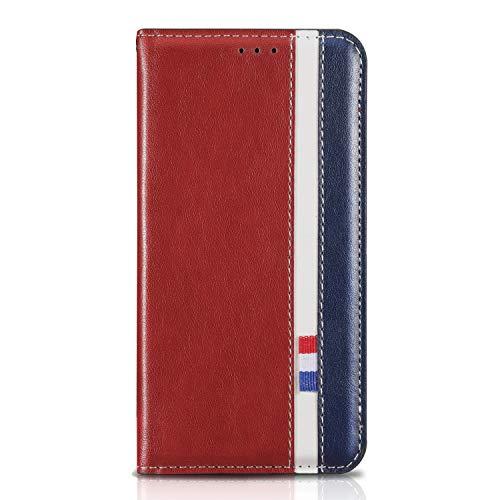 Tosim Galaxy S7 Hülle Klappbar Leder, Brieftasche Handyhülle Klapphülle mit Kartenhalter Stossfest Lederhülle für Samsung Galaxy S7/G930F - TORXZ010225 Rot