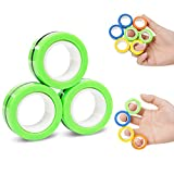 NSKER 3PCS Fidget Toy Fingers Magnetic Rings Ideal ADHD Fidget Toys Cool Office School Stress Toys Stress Relief Magnet Toys for Adults Used as Focus Fidget-Emerald Green